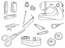 Illustration of sewing stuff and tools Royalty Free Stock Images