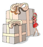 Illustration of a christmas girl with an enormous present. An illustration of a hot christmas woman in red dress standing at an enormous present vector illustration