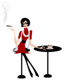 Illustration of sexy girl at cafe Royalty Free Stock Photo