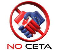 Illustration of shaking hands on CETA agreement. Stock Images