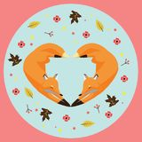 Illustration of shaped heart foxs stock image