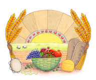 Shavuot. An Illustration of Shavuot holiday symbols in a nice compositon Royalty Free Stock Image