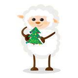 Illustration of sheep with Christmas tree. Isolated illustration of sheep with Christmas tree Royalty Free Stock Image
