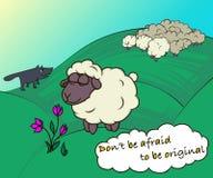Illustration sheep, comic sheep, white wool, wolf. vector illustration
