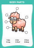 Illustration of sheep vocabulary part of body Stock Images