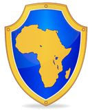 Shield with silhouette of Africa Stock Image