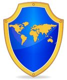 Shield with silhouette of map the world Stock Image