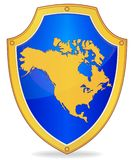 Shield with silhouette of North America Stock Photos