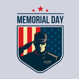 Illustration of Shield with Soldier saluting against USA Flag. Memorial Day. Stock Images