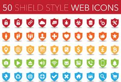 50 shield style web icons. Illustration of 50 shield style web icons with shadows in five different colors, isolated on a white background Royalty Free Illustration