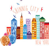 Illustration shinning de vecteur de New York City Photographie stock libre de droits