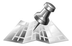 Illustration of shiny metal steel map and pin icon stock illustration