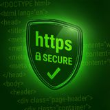 3D shiny shield. Secure https Protocol. Icon safe web. Closed lock. HTML code on the green background. Vector. Illustration with a shiny shield. Design for https Royalty Free Stock Images