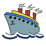 illustration with a ship Royalty Free Stock Photo