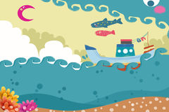 Illustration: Ship, Sea and Fish Flying in Sky. Realistic Fantastic Cartoon Style Artwork / Story / Scene / Wallpaper / Background / Card Design Stock Photo