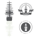 Illustration with ship silhouette  on white background. Stock Photos
