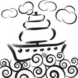 Illustration of ship on waves in sea with clouds Stock Image