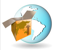 Illustration of shipping box with earth Royalty Free Stock Photos