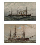 Illustration of ships 19-18 century. Royalty Free Stock Photography