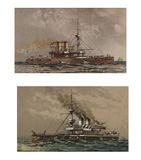 Illustration of ships 19-18 century. Royalty Free Stock Images