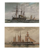 Illustration of ships 19-18 century. Royalty Free Stock Photos