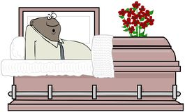 Black man waking up inside a casket Royalty Free Stock Image