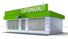 Illustration of shop or minimarket kiosk exterior Royalty Free Stock Photos