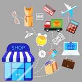 Illustration of shoping and different goods Stock Photo