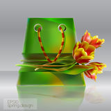 Illustration of shopping bag with tulips. Stock Image