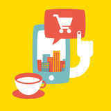 Illustration of shopping in the big city online Stock Images
