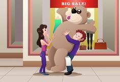 Giving doll to girlfriend. Illustration of a shopping boy giving giant doll to girlfriend on mall Stock Photo
