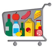 Shopping cart with food Royalty Free Stock Images