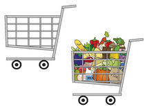 Cart. Illustration of a shopping cart empty and one full of food Royalty Free Stock Photography