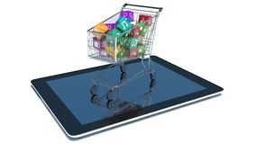 Illustration of shopping cart with media boxes on tablet pc Stock Photo