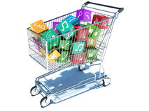 Illustration of shopping cart with media boxes. Royalty Free Stock Photo