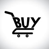 Illustration of shopping cart with the word buy Royalty Free Stock Image