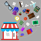 Illustration of shopping and different goods Stock Photos