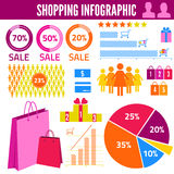 Illustration of shopping infographics with statistics. Vector illustration hand drawn Stock Photos