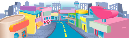 Illustration of shopping street Royalty Free Stock Images