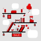 Illustration of shopping in supermarket Stock Images