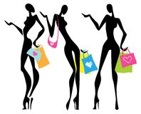 Illustration a shopping women with bags Stock Photography