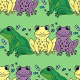 Illustration should be different than that. Colored frogs. Seamless pattern. royalty free illustration