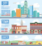 Illustration Showing Difference Between Urban And Rural Life Royalty Free Stock Photo