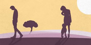 An illustration showing a family that is separating. A father goes sadly away from mother and child. stock illustration