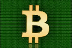 Golden Bitcoin Digital Symbol - Digital Currency Royalty Free Stock Image