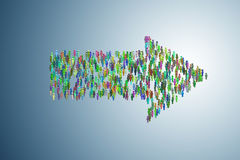 The illustration showing many people in arrow shape - 3d rendering. Illustration showing many people in arrow shape - 3d rendering Royalty Free Stock Image