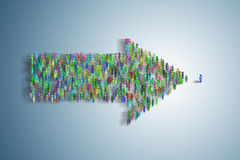 The illustration showing many people in arrow shape - 3d rendering. Illustration showing many people in arrow shape - 3d rendering Royalty Free Stock Photo