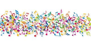 Illustration showing a multitude of musical notes in colo. Decoration concept for a musical event with a banner filled with musical notes of different colors vector illustration