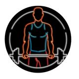 African American Athlete Lifting Barbell Oval Neon Sign. Illustration showing a 1990s neon sign light signage lighting of an African American physical fitness stock illustration