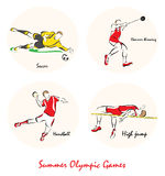 Illustration showing a Summer Olympic Sports. Set of a Illustration shows a Summer Olympic Sports. Hammer Throw, handball, high jump, soccer Royalty Free Stock Photos